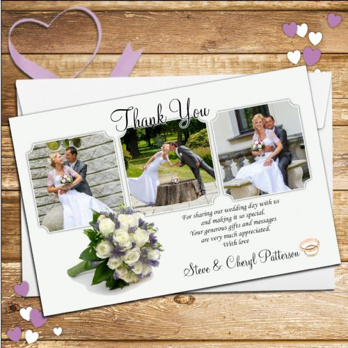10 Personalised Flower Bouquet Wedding Day Thank you Photo cards N91